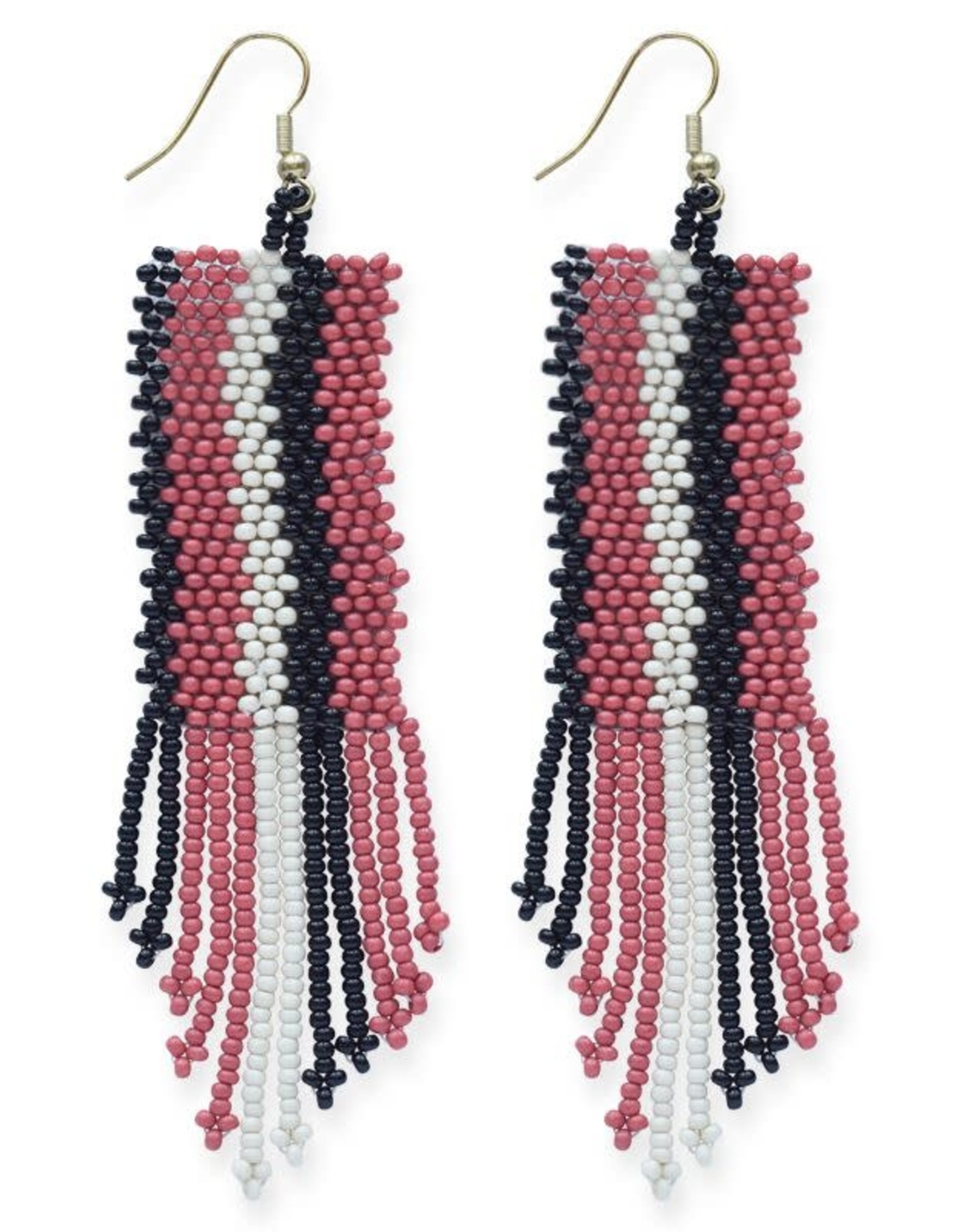 Pink, White, and Black Stripe Seed Bead Earring