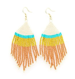 EARRING RUST IVORY CITRON WITH TURQUOISE STRIPE FRINGE