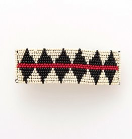 BARRETTE  IVORY RED AND BLACK DIAMOND