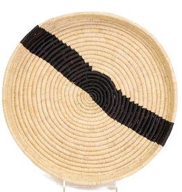 Black and Natural Striped Raffia Tray
