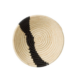 Small Black and Natural Stripe Basket Bowl