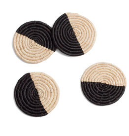 Half Moon Raffia Coaster Set