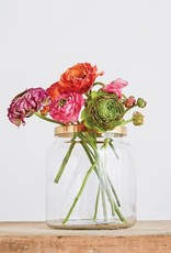 Glass Vase with Brass Flower Frog Lid