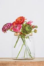 VASE GLASS WITH BRASS METAL FLOWER FROG LID