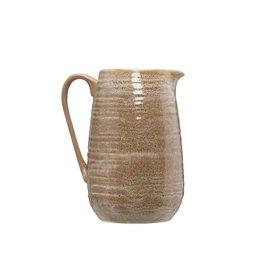Putty Ceramic Pitcher with Reactive Glaze