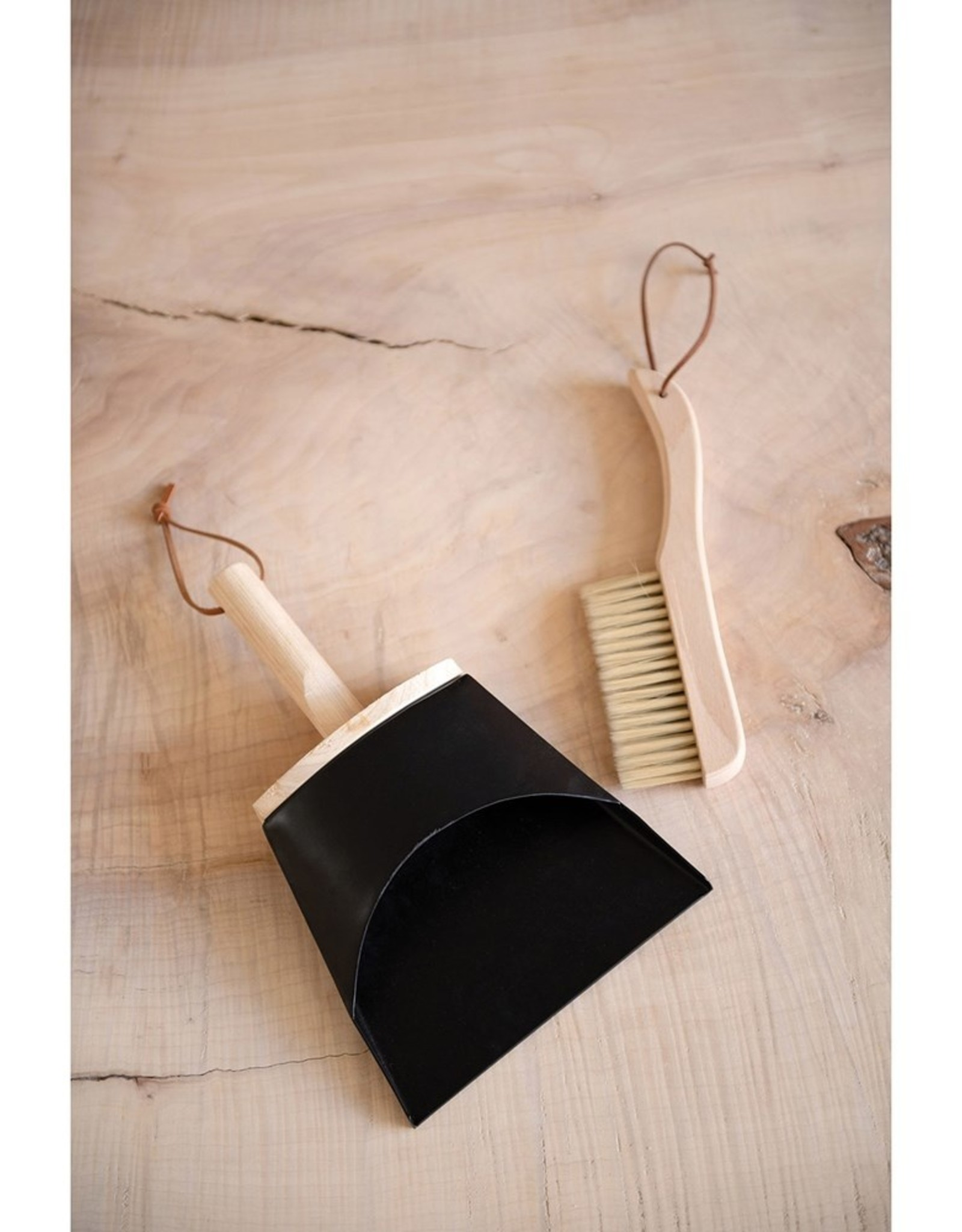 Metal and Wood Dustpan and Brush