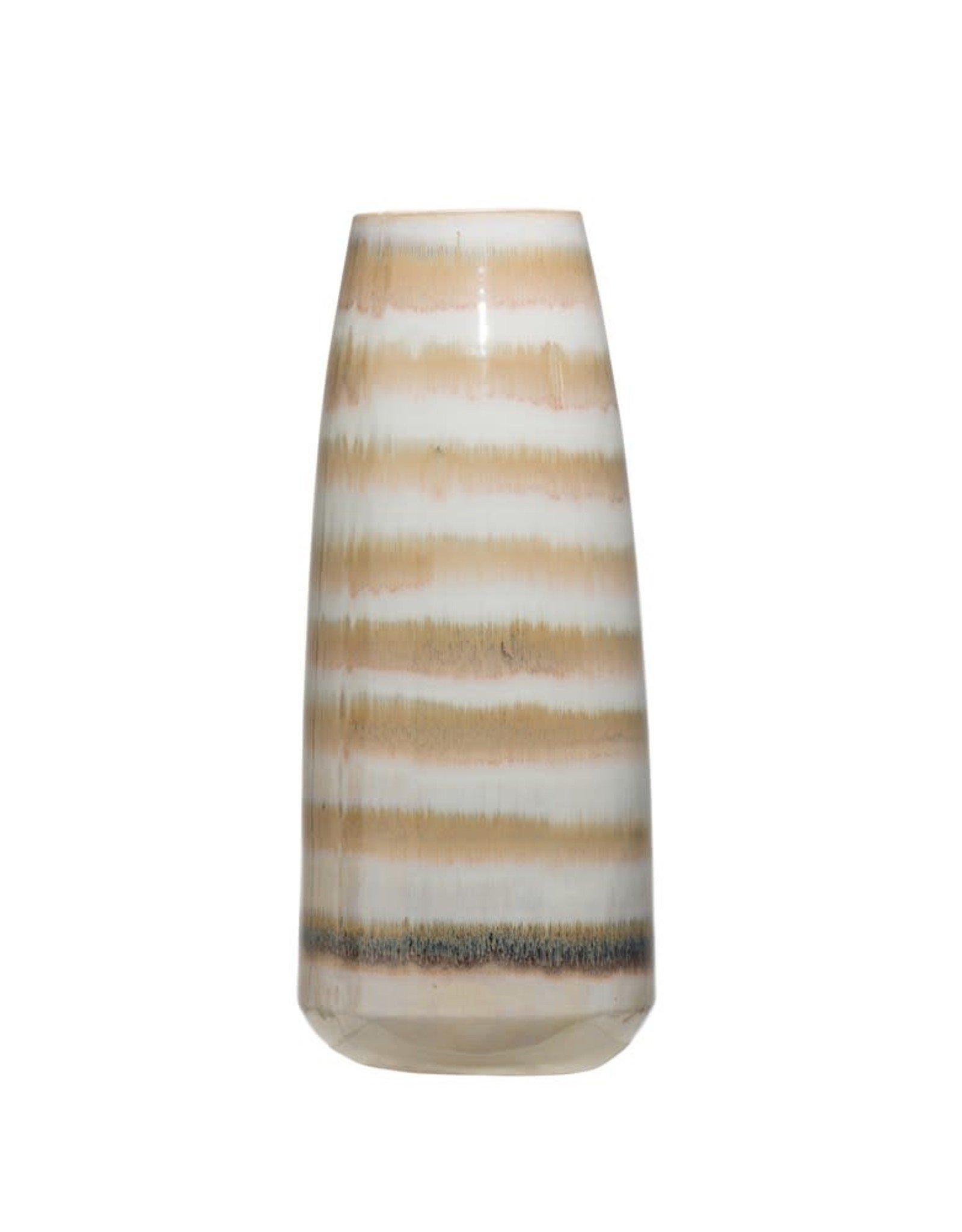 Cream and Brown Stoneware Vase