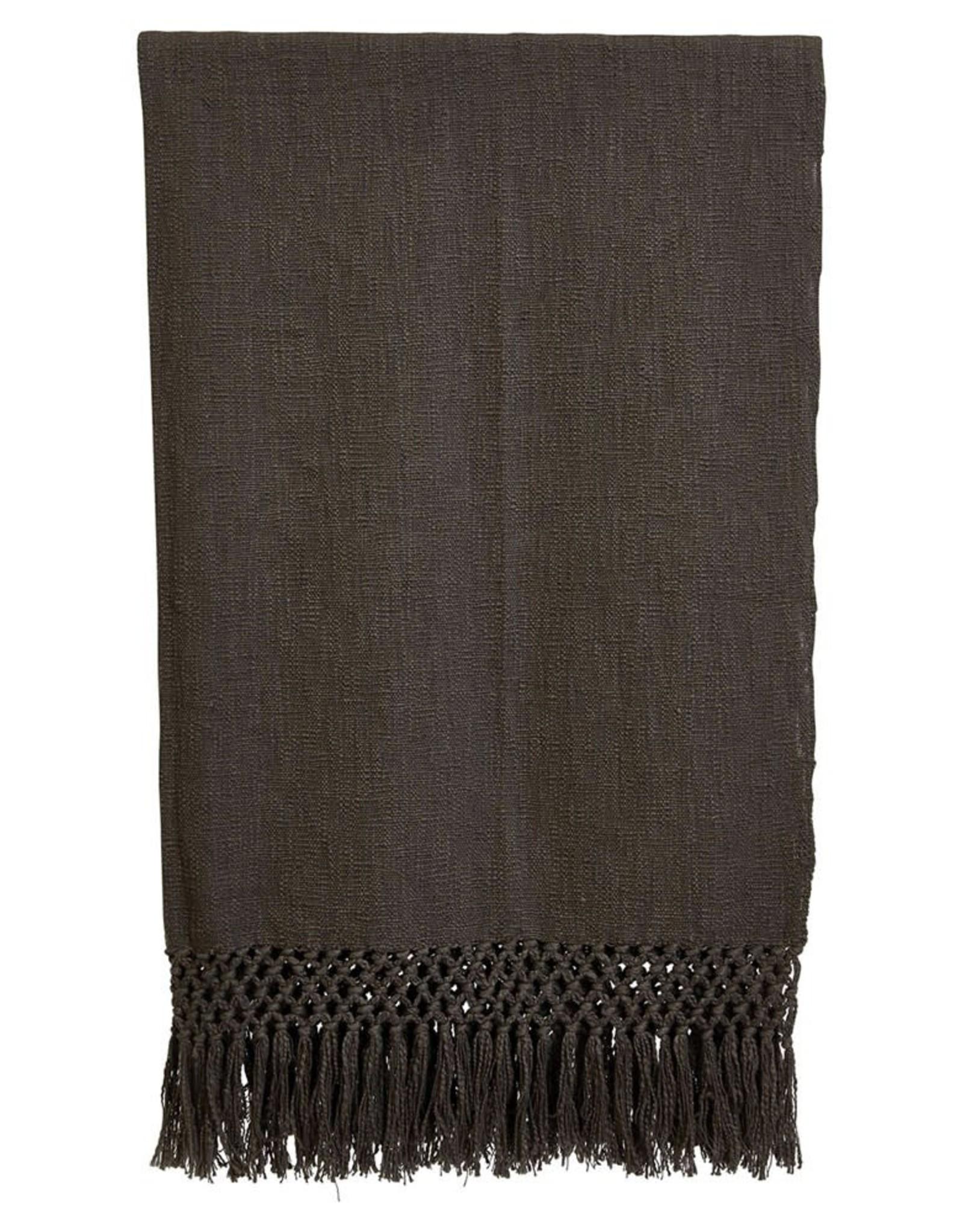 Charcoal Crochet Edged Throw Blanket