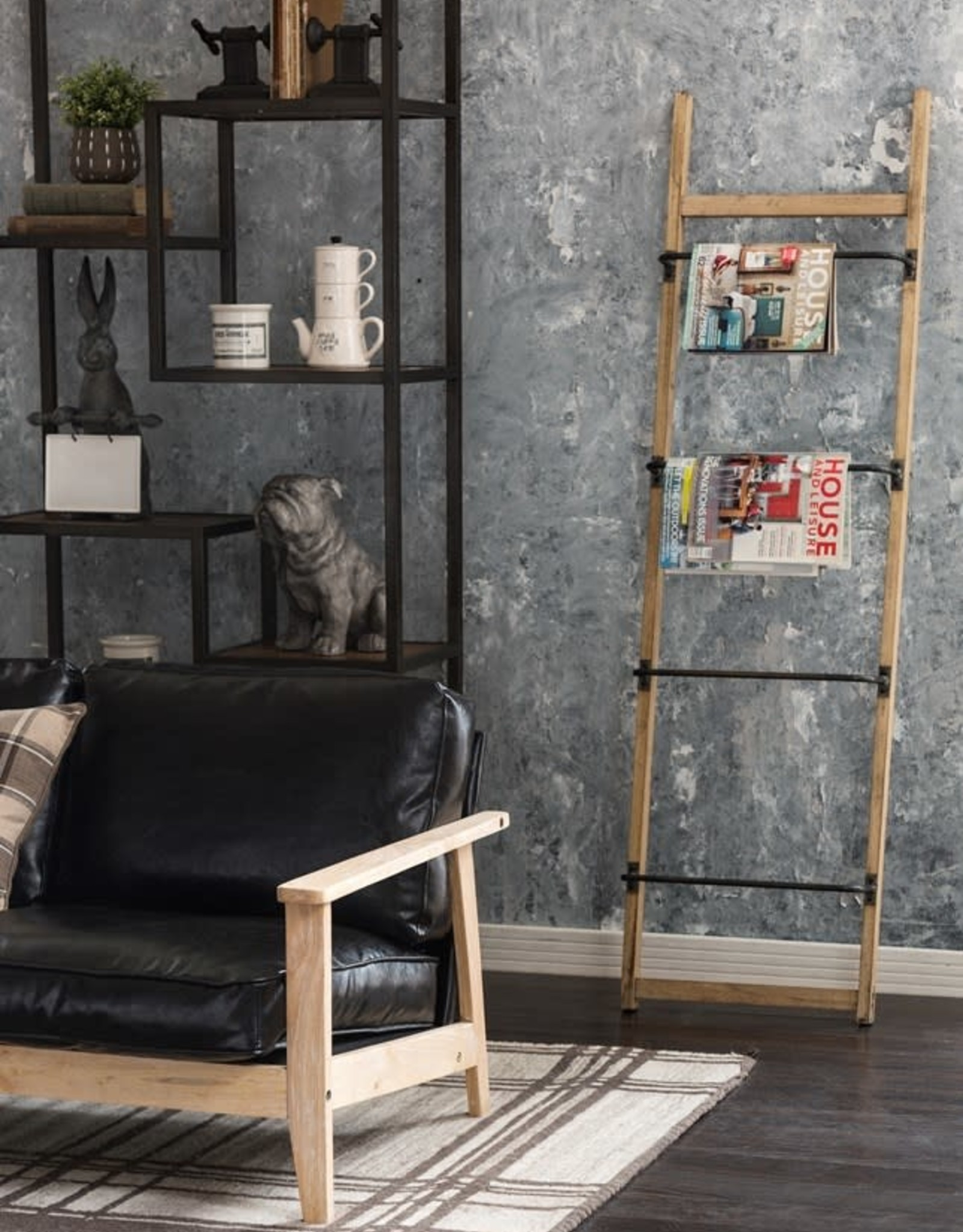 LADDER WALL RACK  METAL AND WOOD WITH 4 BARS 5.25 X 19.75 X 70.75