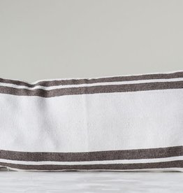 CREATIVE CO-OP PILLOW 35 X 16 WHITE COTTON GREY STRIPE TASSEL CORNERS