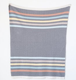 CREATIVE CO-OP BLANKET BABY COTTON GREY MULTICOLOR STRIPE
