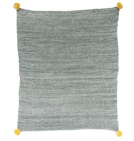 CREATIVE CO-OP BLANKET BABY COTTON DARK GREY YELLOW POM POM