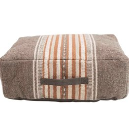 Rust Stripe Floor Pillow with Leather Handles
