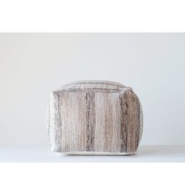 CREATIVE CO-OP POUF 18 INCHES SQUARE WOVEN COTTON CHINDI