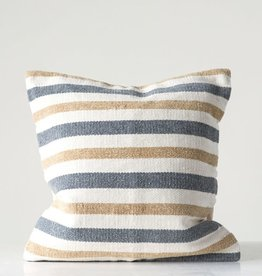 CREATIVE CO-OP PILLOW 20 X 20 WOVEN COTTON STRIPED GREY AND SAND