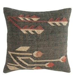 CREATIVE CO-OP PILLOW 20 X 20 JUTE AND WOOL KILIM MULTI COLOR