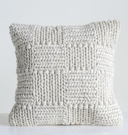 CREATIVE CO-OP PILLOW 20 X 20 WOOL KNIT CREAM