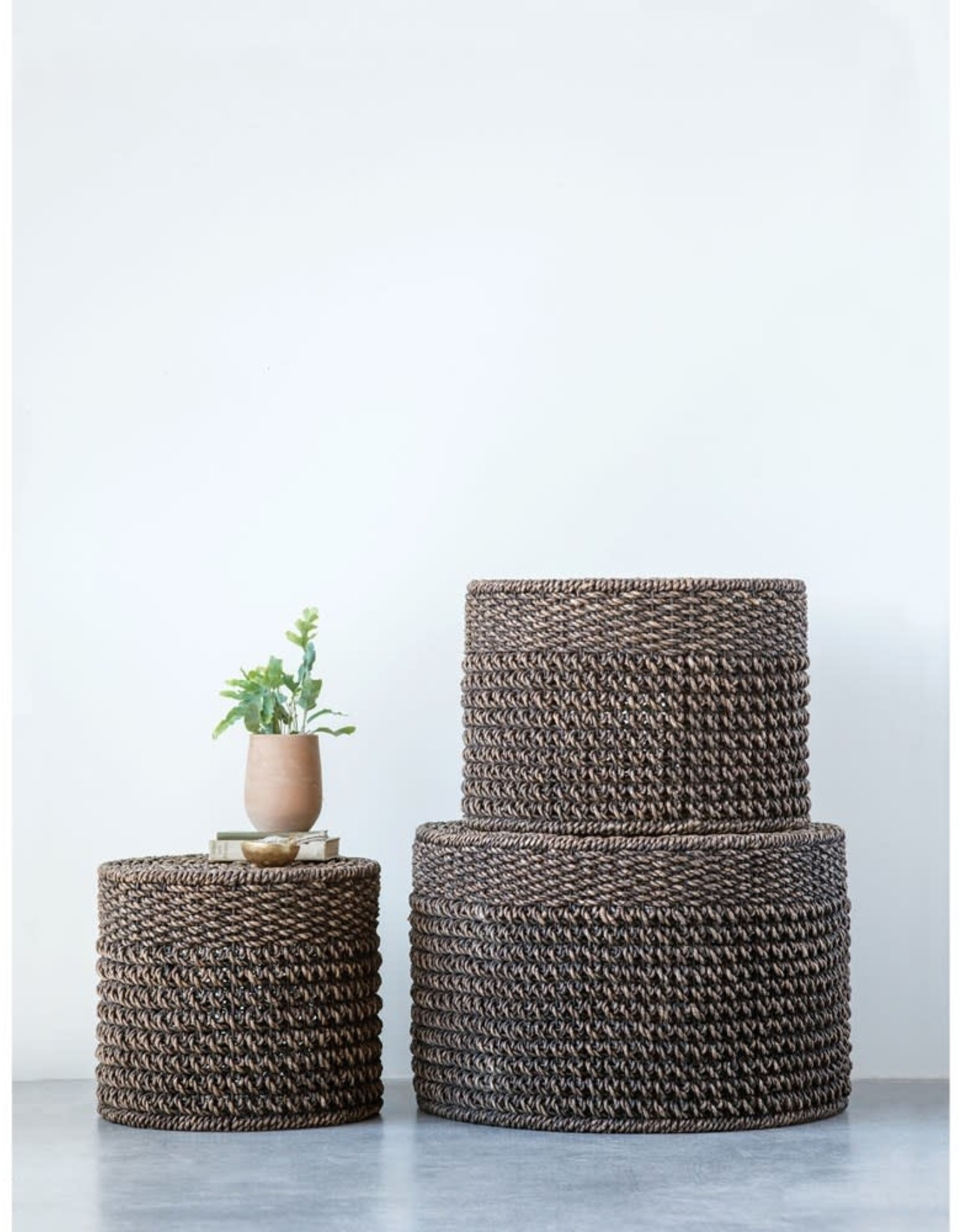 Black Woven Water Hyacinth Ottoman/Table