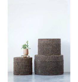 CREATIVE CO-OP OTTOMAN TABLE NATURAL WOVEN WATER HYACINTH BLACK
