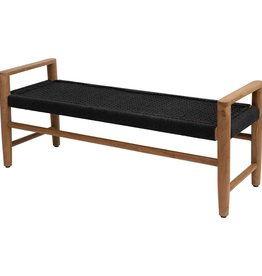 Teakwood and Woven Cotton Bench