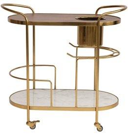 Brass, Mango Wood, and Marble Bar Cart