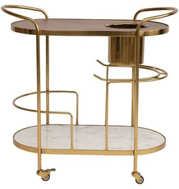 CREATIVE CO-OP BAR CART BRASS ON CASTERS MARBLE MANGO WOOD SHELVES ICE BUCKET