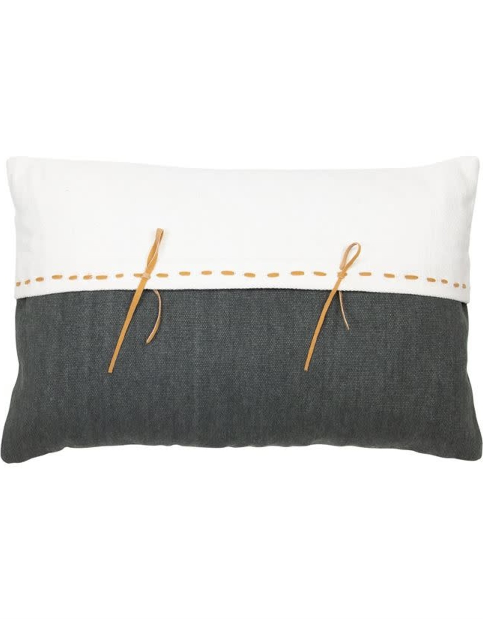 Charcoal & White Pillows with Leather Accent