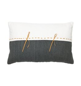 Charcoal & White Pillow with Leather Accent