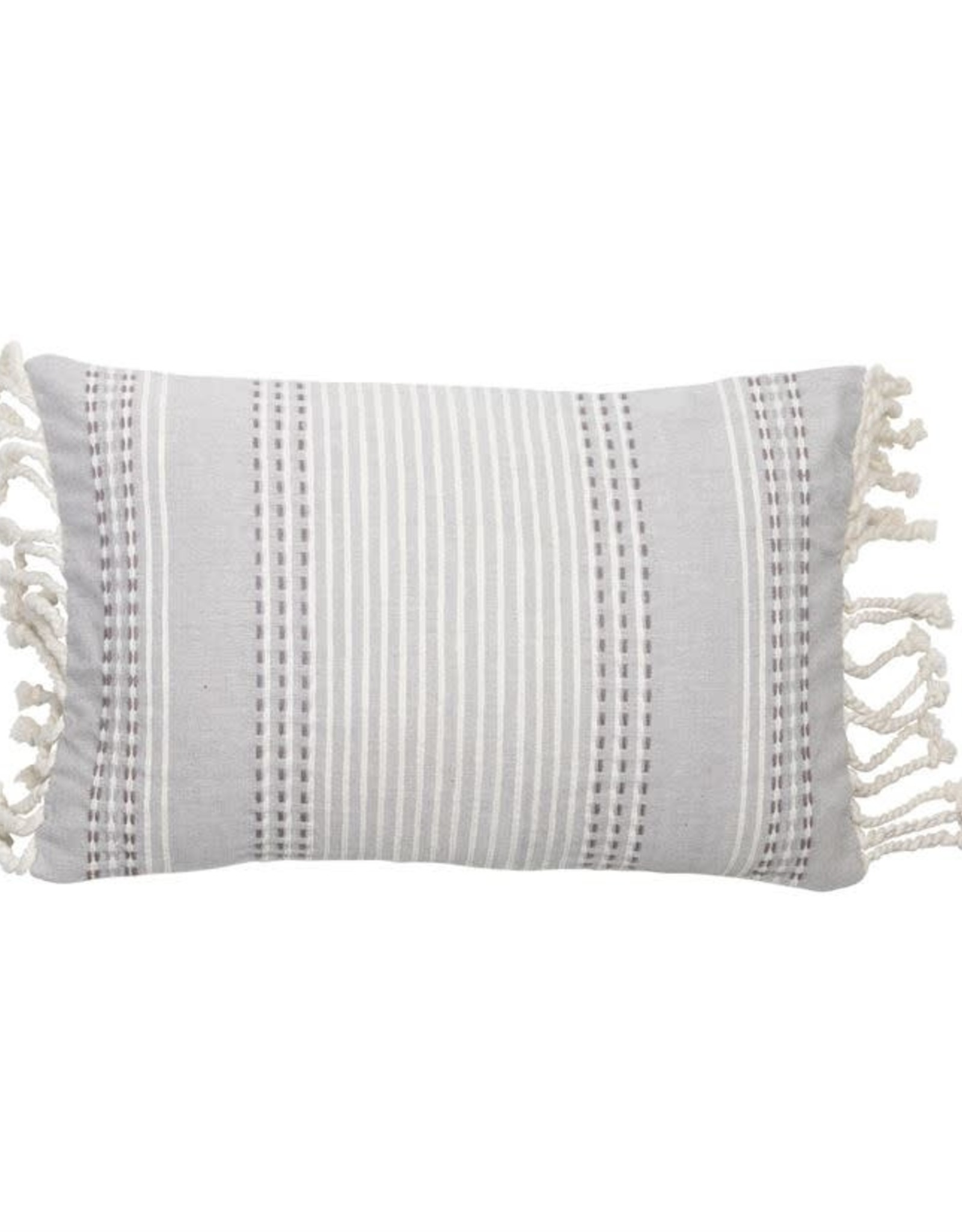 Gray Patterened Pillows with Fringe