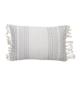 Gray Patterened Pillow with Fringe