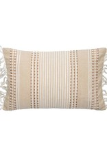 Beige Patterened Pillows with Fringe