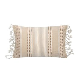 Beige Patterened Pillow with Fringe