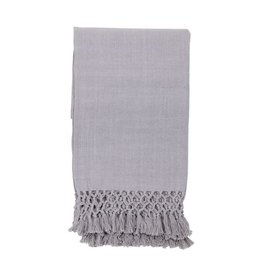 Gray Throw with Braided Fringe