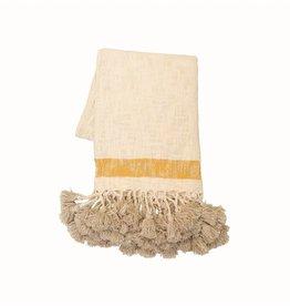 Cotton Throw with Mustard Stripe
