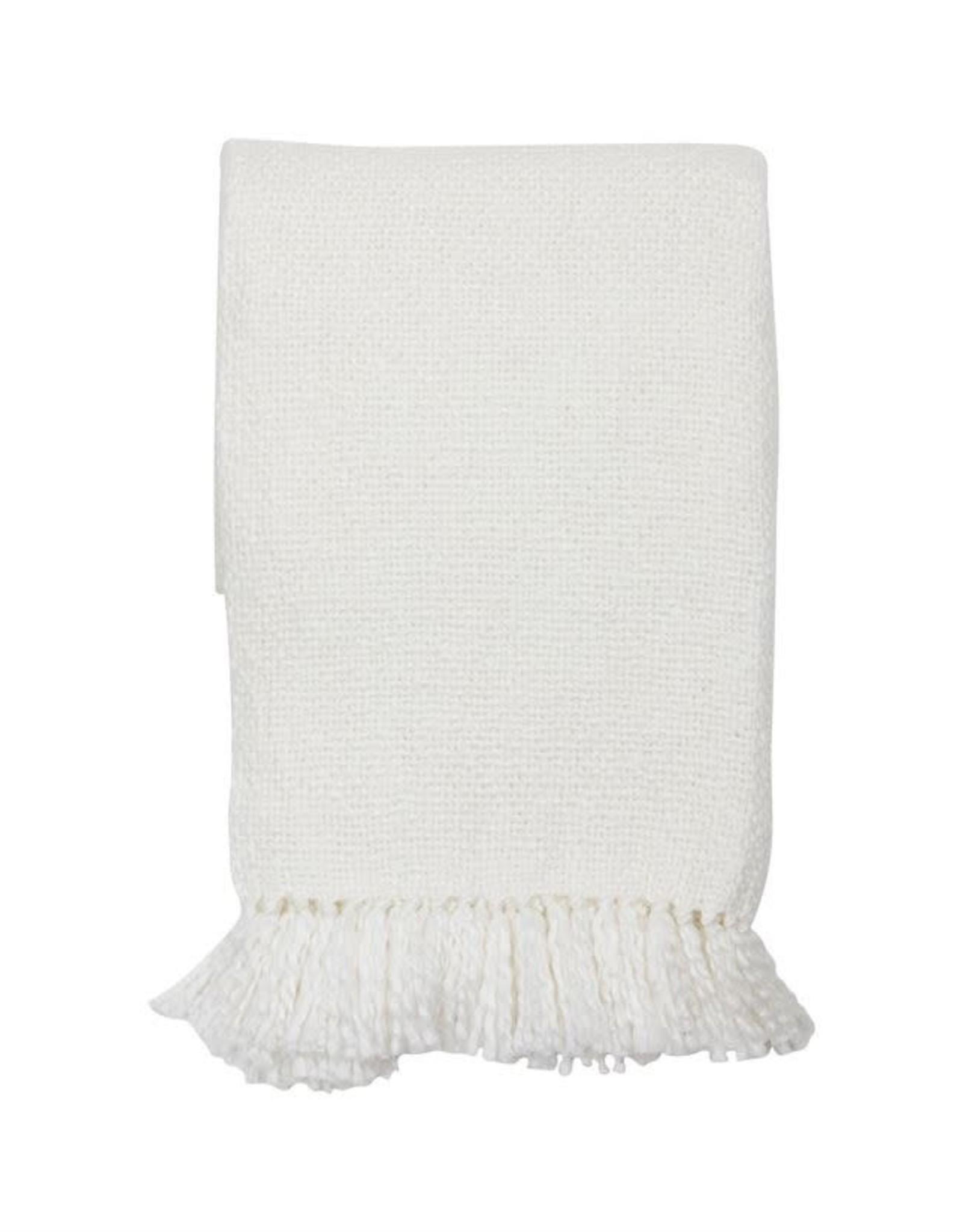 Soft White Throw with Fringe