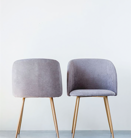 Grey Upholstered Chair With Metal Legs