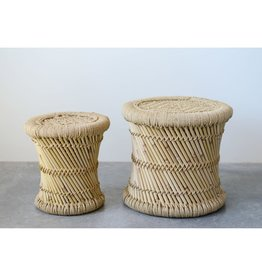 Hand Woven Bamboo and Rope Side Table