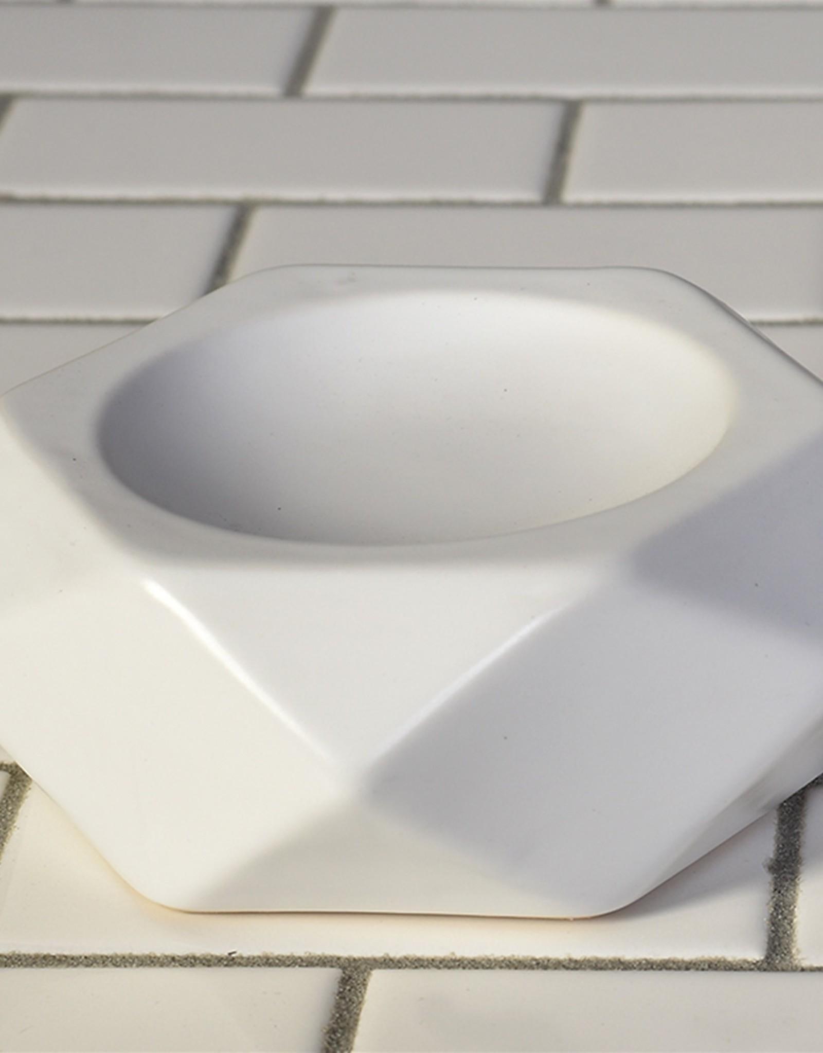 Faceted White Ceramic Soap Dish