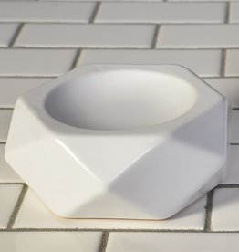 Faceted White Ceramic Soap Dish