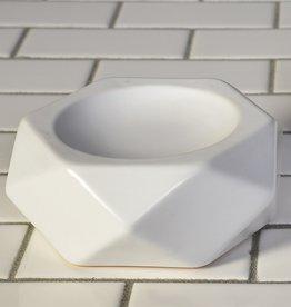 SOAP DISH FACETED CERAMIC WHITE