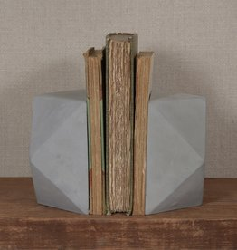 HOMART BOOKEND CEMENT GEOMETRIC CUBEOCTAHEDRON SET OF 2
