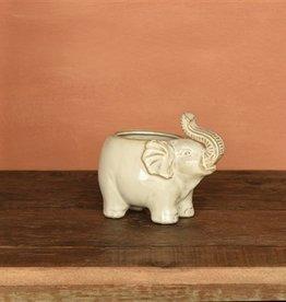 White Ceramic Elephant Cahchepot