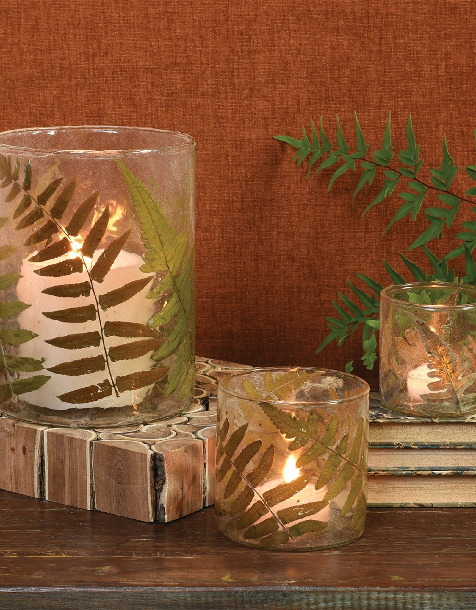 Large Fern Glass Candle Holder