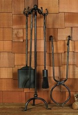 FIREPLACE TOOLS SET OF 5 BLACK WAXED