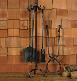 HOMART FIREPLACE TOOLS SET OF 5 BLACK WAXED