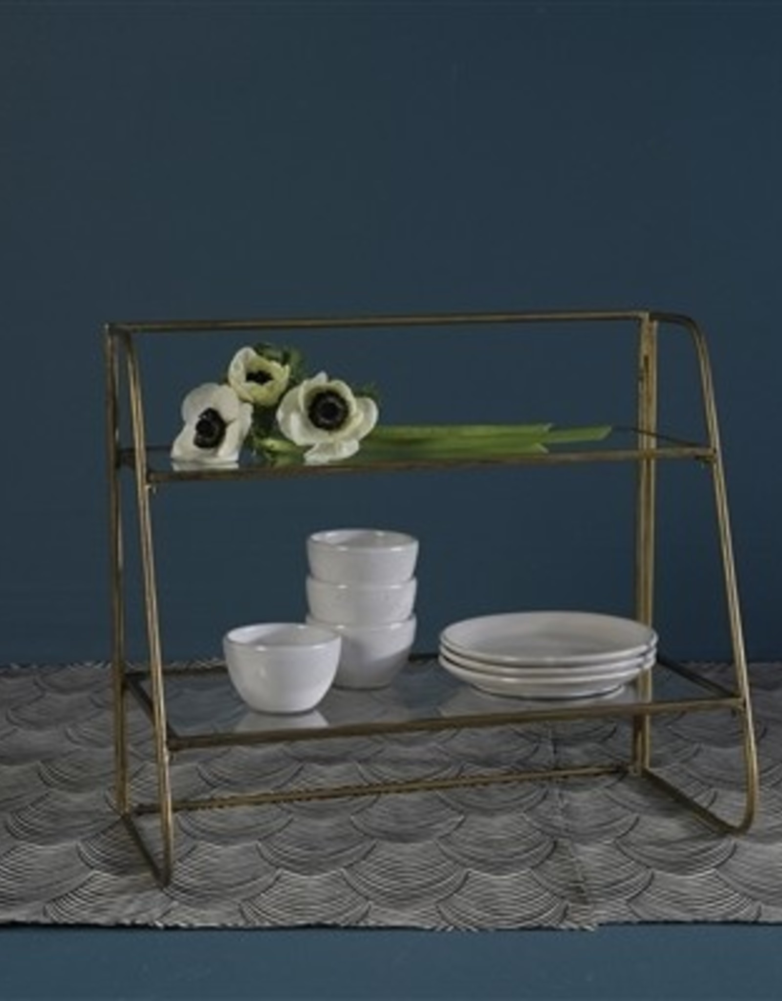 Two Tiered Glass and Brass Shelf