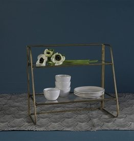 HOMART STAND TWO- TIER BRASS WITH GLASS SHELVES