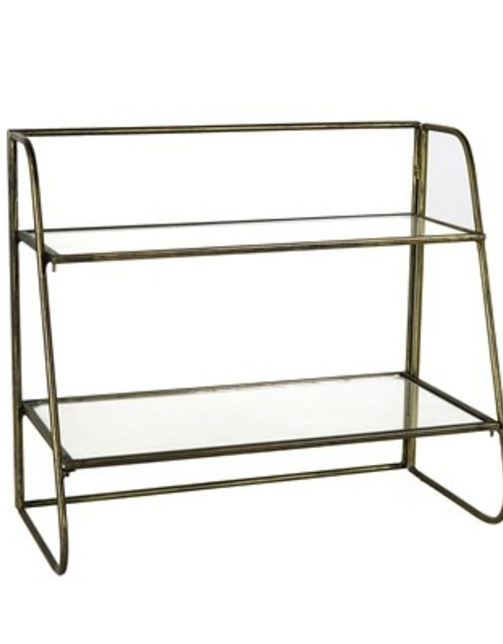 STAND TWO- TIER BRASS WITH GLASS SHELVES