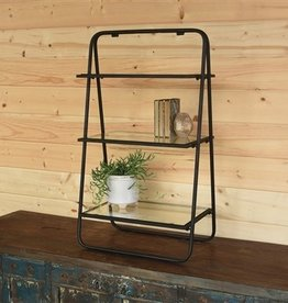 STAND THREE-TIER GLASS AND METAL BLACK