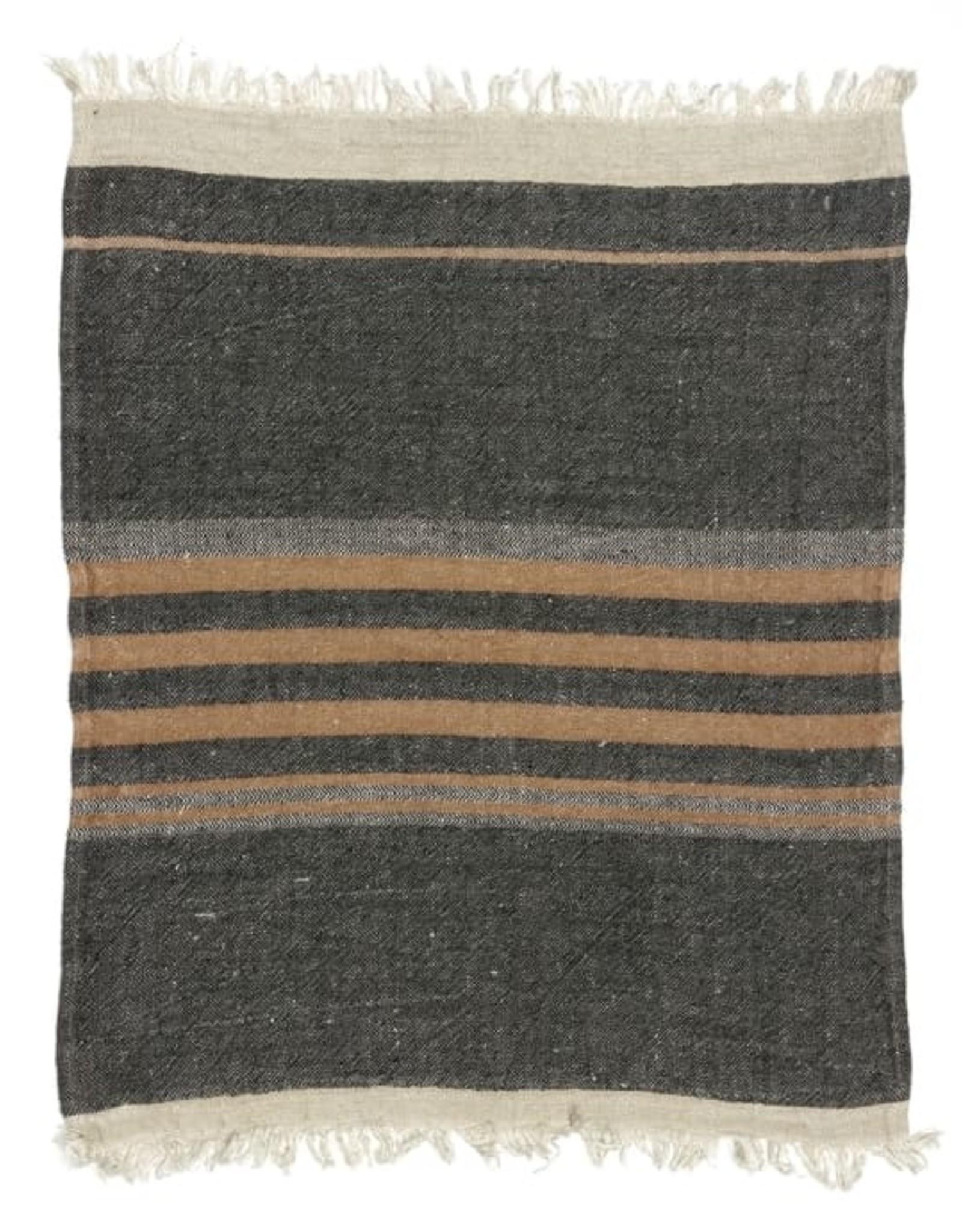 """Black Stripe Belgian Linen Towel/Throw 43""""x71"""""""